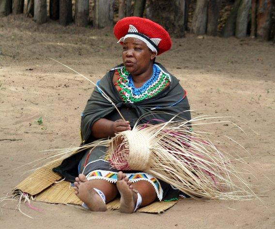 Zulu woman busy weaving