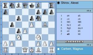 Round 4 Carlsen vs Shirov move 7