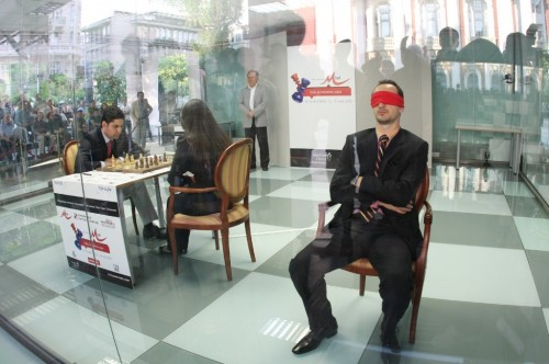 Topalov blind folded