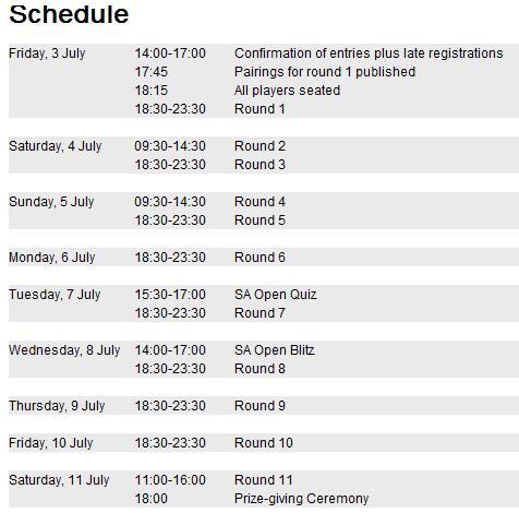 SA Open Schedule